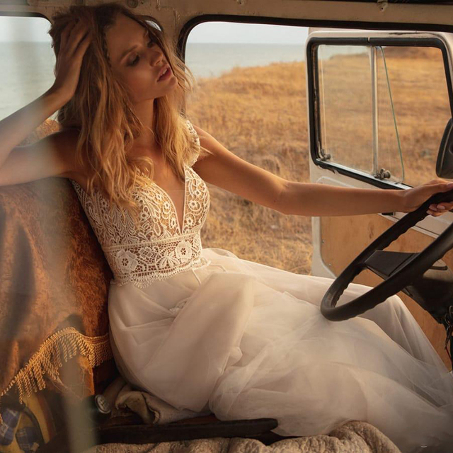 SoDigne Boho Wedding Dresses V Neck A Line Lace Appliques Beach vintage Bridal Gowns Custom Bohemian Wedding Dress Plus Size 4