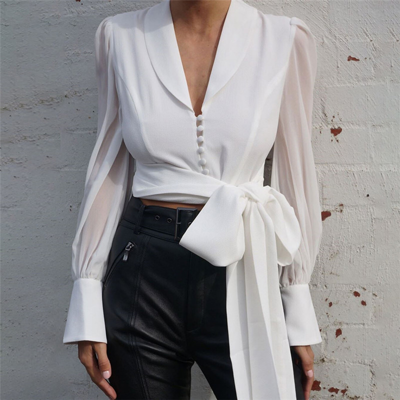 High Street White Blouses Autumn Spring Lace Up V Neck Blouse Women's Tops Lantern Sleeve Strap Single Breasted Slim Shirt Blusa