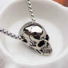 HNSP Punk Stainless Steel Skull Pendant Necklace For Men Male 2019 New