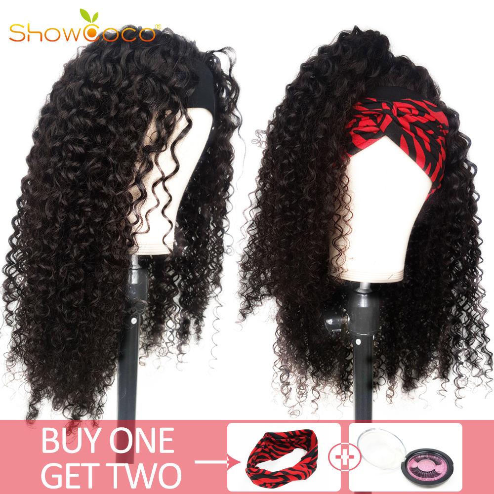Headband Scarf Wig for Women Human Hair Curly Elastic Band With Hook Machine Made Remy Gluless Human Hair Wig Natural ShowCoco