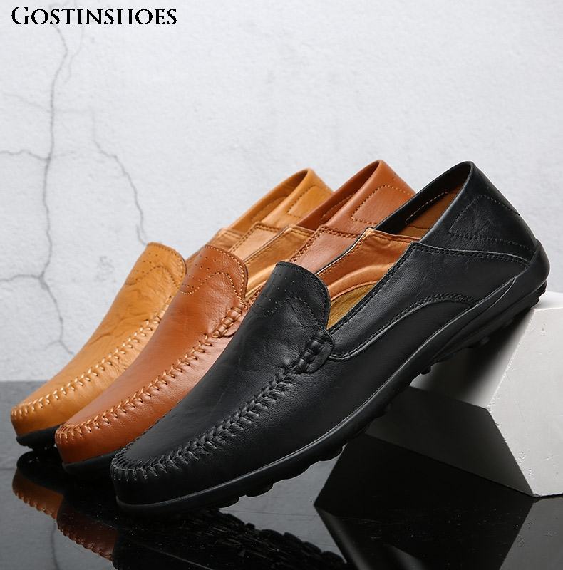 Men Casual Shoes Summer Genuine Leather Men Loafers Moccasins Slip On Men's Flats Moccasins Homme Male Driver Shoes