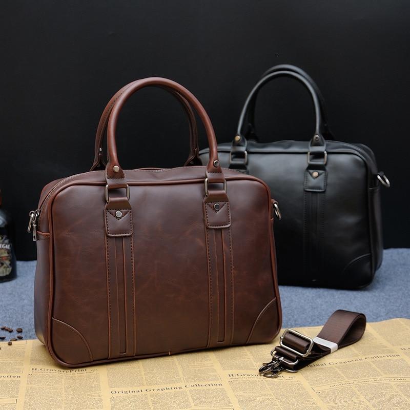 1PCS  New Business Handbag Style Single Shoulder Man's Bag With Official Documents Men Leather Bag