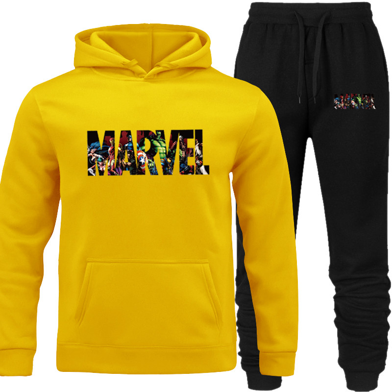 Pullover Hoodies Men 2019 Sweatshirt Hoodies High Quality 2pcs Tracksuit Yellow Pocket MARVEL Pants Tops Hooded Lover's Match