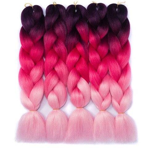 Tranças de Cabelo Extensões de Cabelo Trança de Crochê Polegada Ombre Sintético Yaki Macio Cabelo Trança Jumbo Rosa Verde Azul 5 Pçs – Lote 24