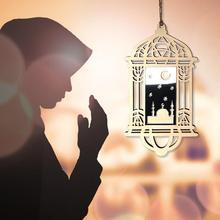 DIY Eid Mubarak Lantern Mirror Pedant Muslim Home Decoration Plywood Hollow Ornament Crafts With Lan