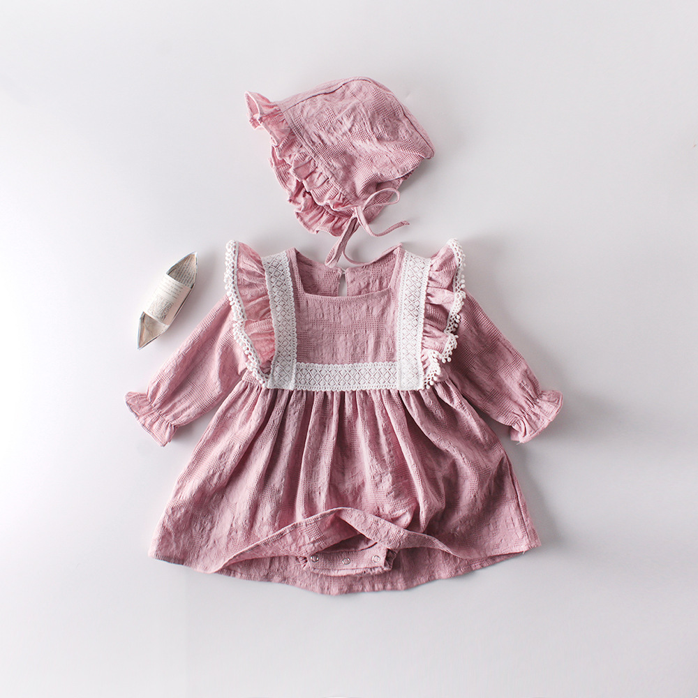 MILANCEL Baby Anniversary Day Clothing Lace Baby Bodysuits Cotton Dress Bodysuits For Girls