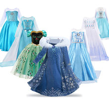 Princess Dress for Girl Anna Elsa Costume Snow Queen Rapunzel Belle Cinderella Jasmine Fancy Disguise Children Birthday Clothes