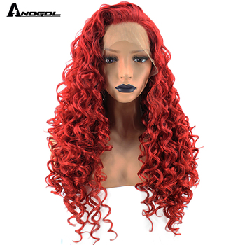 Anogol High Temperature Fiber Glueless Perruque Full Red Hair Wig Long Kinky Curly Synthetic Lace Front Wigs For Afro Women