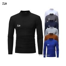 Дышащие Термальность Daiwa Рыбалка одежда Для мужчин на зиму рубашка с длинным рукавом однотонные Рыбалка Костюмы дышащая быстросохнущая майки