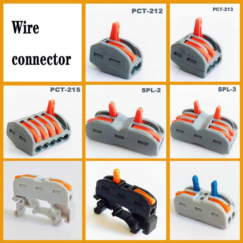 Connettore di alimentazione Connettore del cavo plug-in mini veloce morsettiera filo PCT-212 PCT-213 push in connettore del Cavo Elettrico