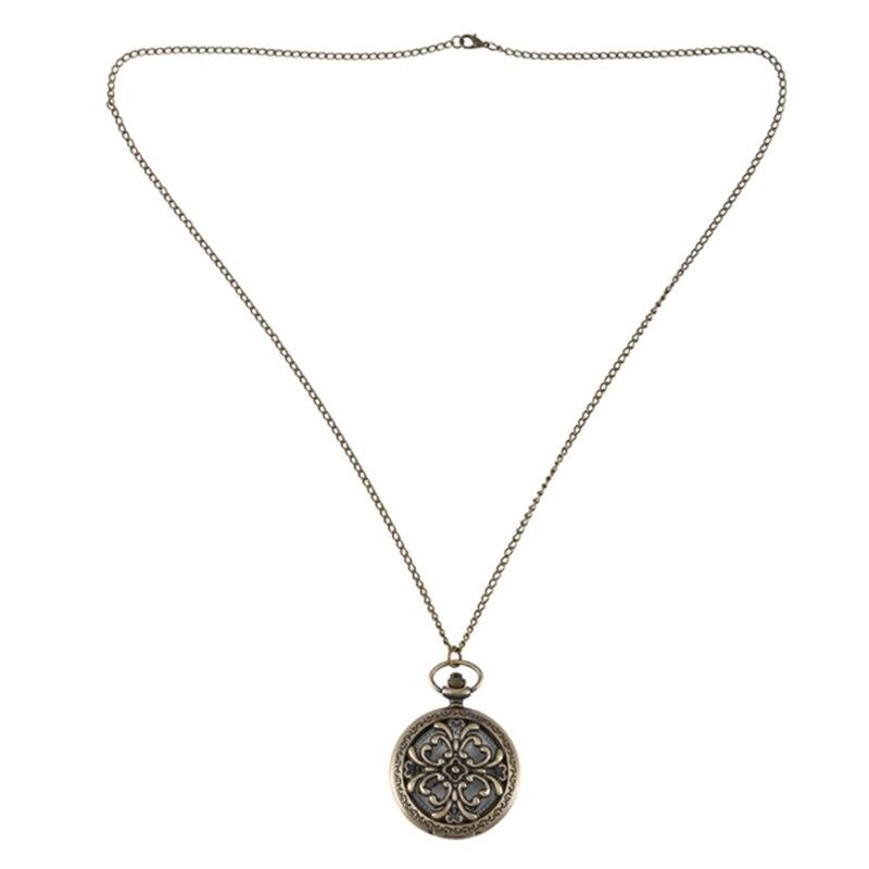 Vintage Quartz Bronze Large Openwork Pattern Flip Pocket Watch Necklace Fashion Pendant