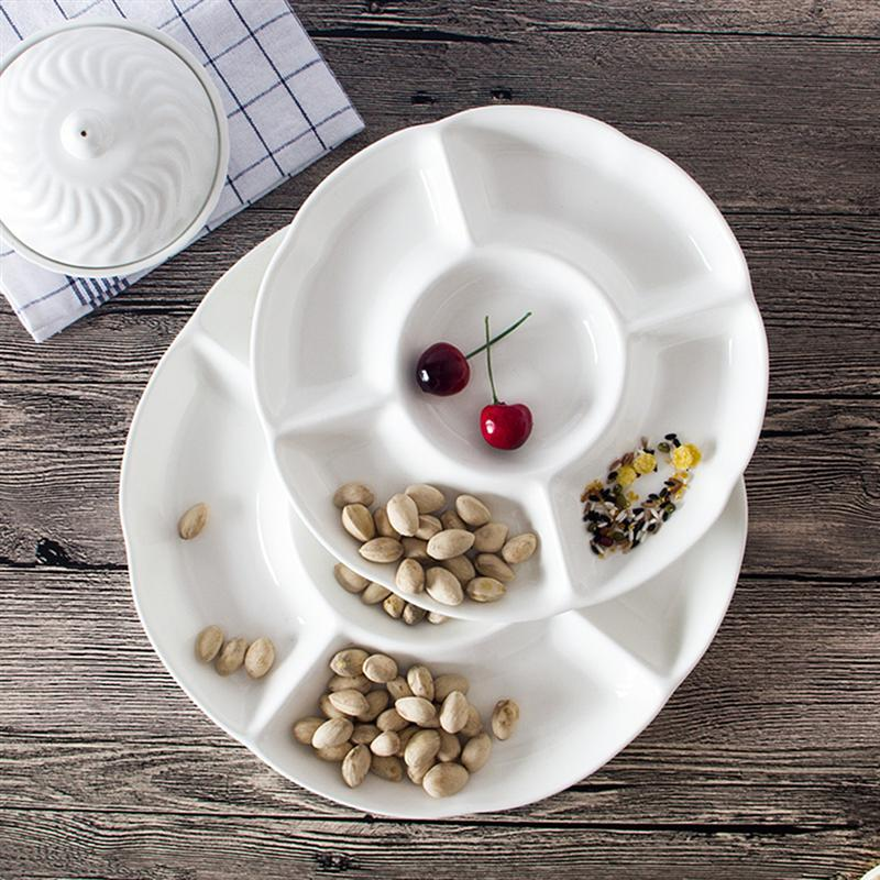 9-дюймовый 5-секционный Меламиновый поддон для хранения продуктов, сухофрукты, закуска, Сервировочная тарелка для конфет, кондитерских орехов-3
