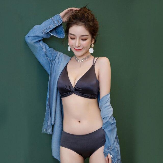 Wriufred Light luxury satin bra sets soft cups wireless gathered lingerie with panties comfortable seamless women underwear set