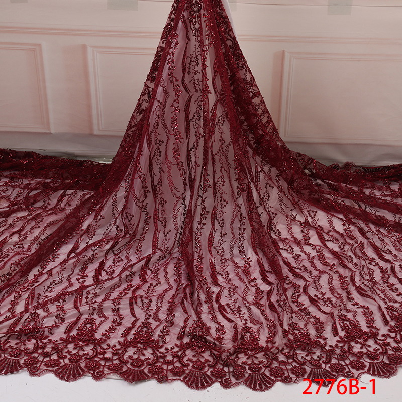 Handmade Beads French Tulle Lace Fabric,Latest African Lace Fabric,Nigerian Lace Fabric With Beads For Women KS2776B-1