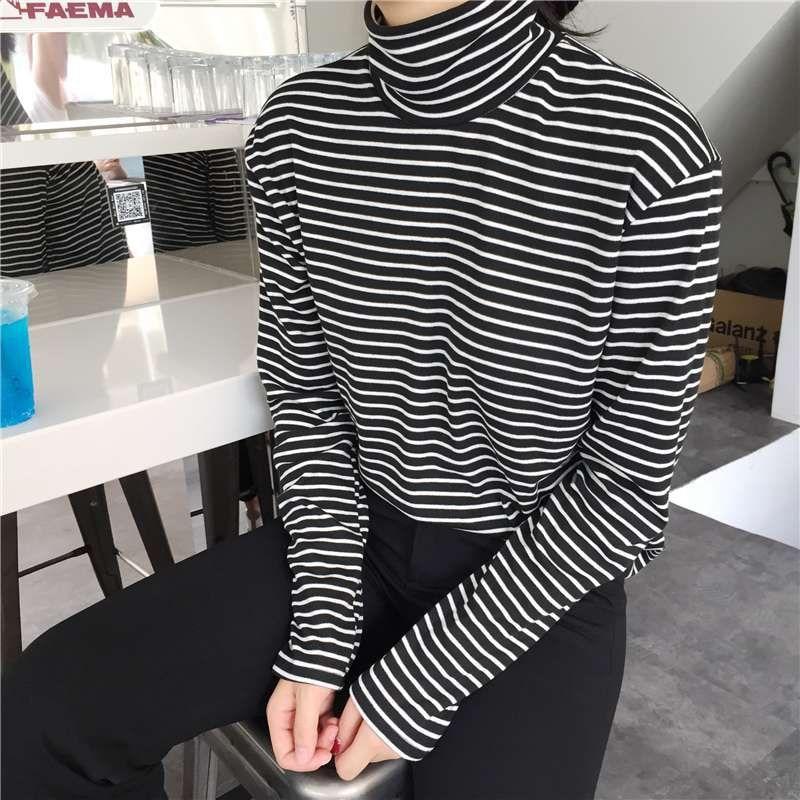 Fashion Black White Striped Women Long Sleeve T-shirt Turtleneck Female T-shirt Summer Elegant Loose Tees Large Size