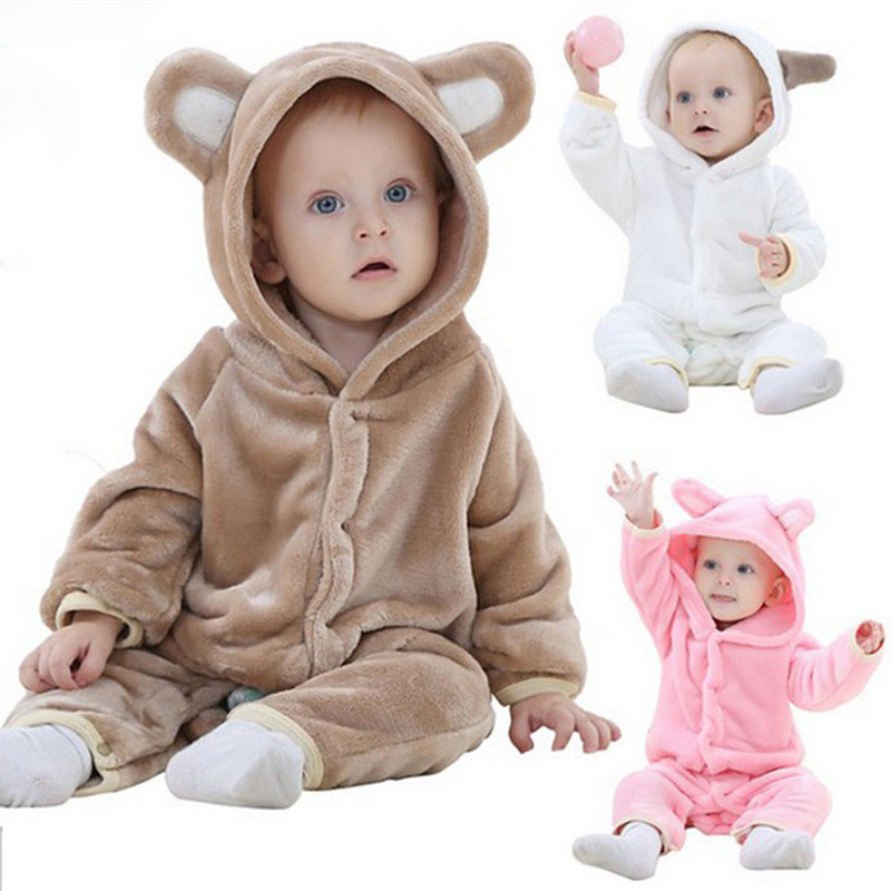 Children's Pajamas Baby Cute Bears One-piece Pajamas Autumn And Winter Warm Flannel Baby Onesies Children's Romper