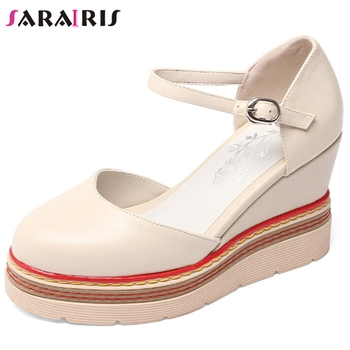 SARAIRIS Brand Genuine Leather Platform Sandals Women Summer Fashion Casual Sandals Ladies New Arrival 2020 High Wedges Shoes