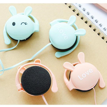 Mp3 Mp4 Rabbit Cartoon Stereo Earphone Headphone with Mic 3.5mm Ear-hook Sports Headset for Girls Kids Xiaomi Mobile Phone Gift kz kz ed4 stereo metal headphone forged copper noise isolation with microphone hifi in ear music earphone for mobile phone mp3 mp4