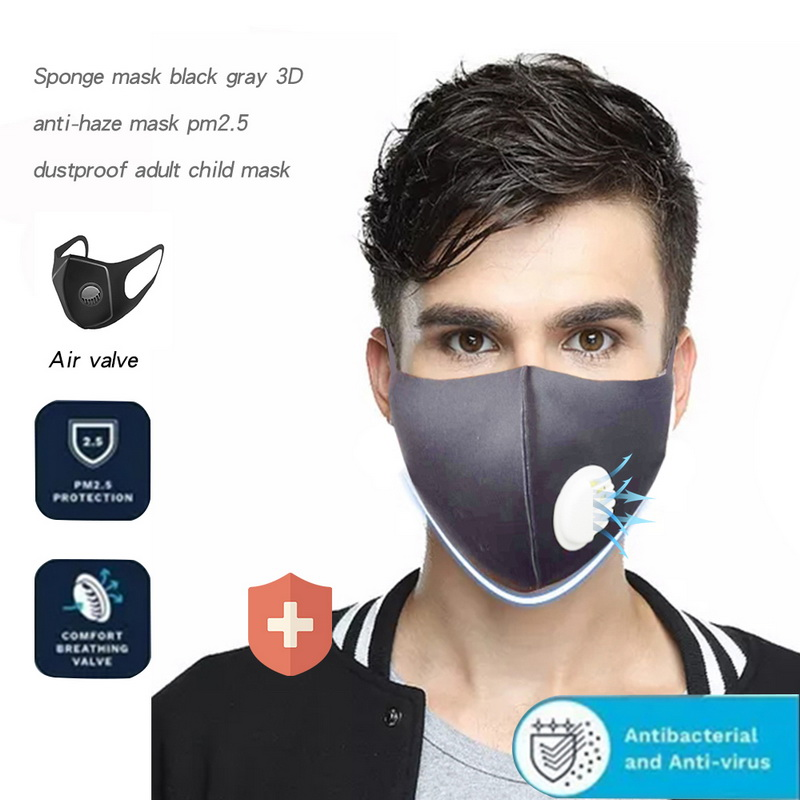 5 Layer Thicken Sponge Anti-fog Haze Dust Pm2.5 3D Cropped Breathable Valve Mouth Mask Reusable Masks For Man Face Mask
