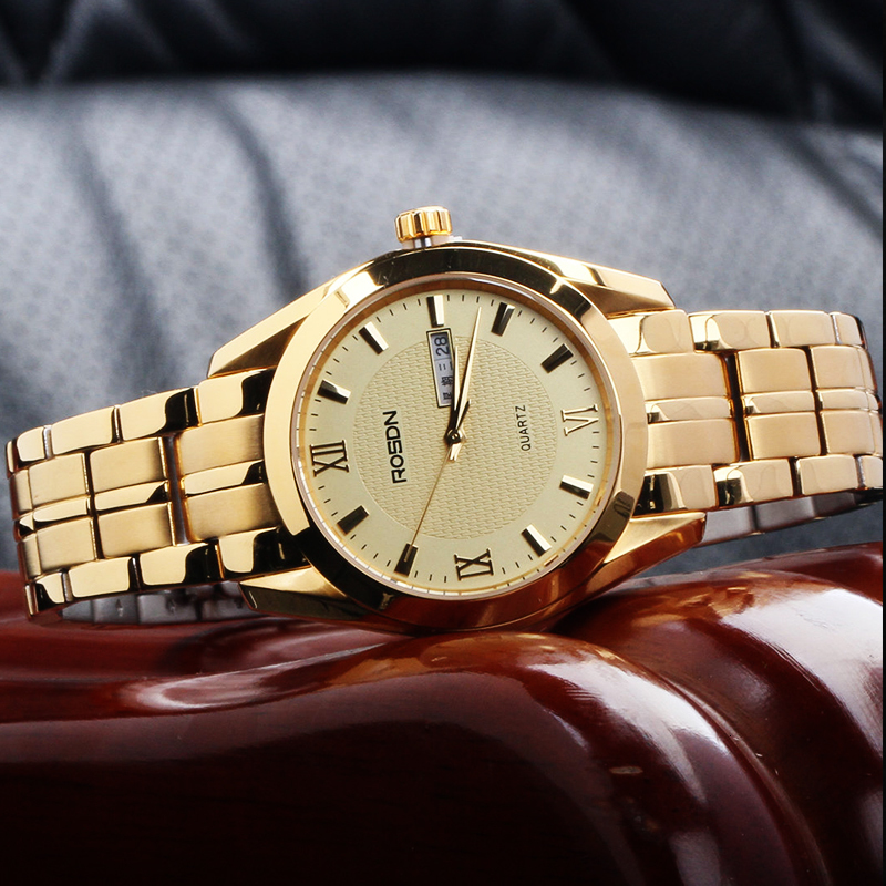 Marca de lujo ROSDN relojes de pareja Japón movimiento de cuarzo reloj de hombre 8 mm ultrafino zafiro resistente al agua 18K relojes de oro R3088M - 4