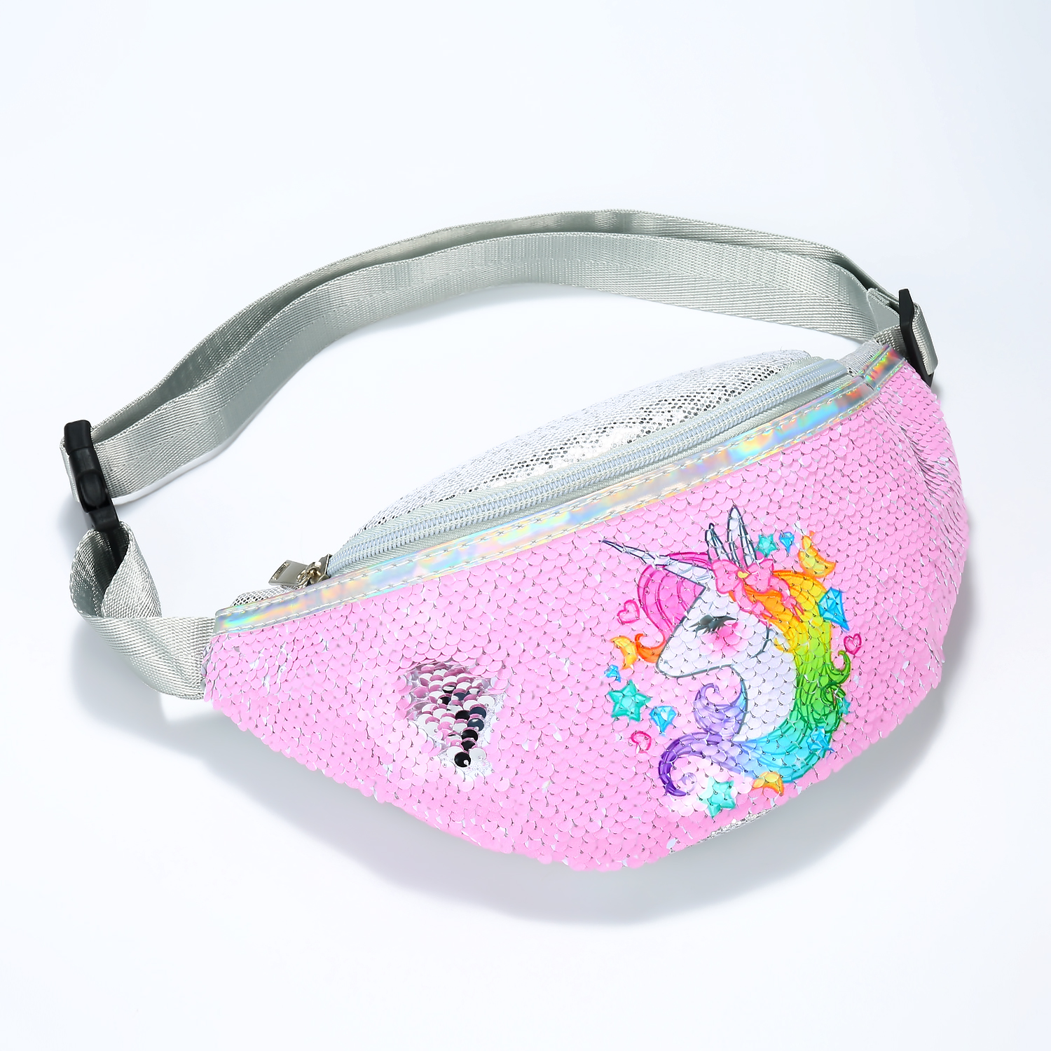 Cartoon Sequins Unicorn Waist Bag For Women Glisten Lovely Pink Fanny Packs Girls Shoulder Bag Travelling Mobile Phone Bags 2019