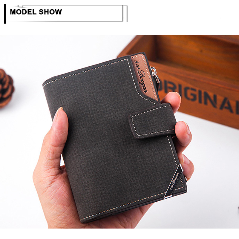 Hef342e8bfce04cf0bf268e195a9bdc48a - New Business men's wallet Short vertical Male Coin Purse casual multi-function card Holders bag zipper buckle triangle folding