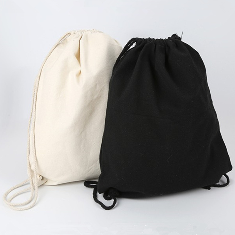 ISKYBOB Canvas Bag Shoulders Drawstring Bundle Pockets Custom Creative Shopping Student Backpack Bag Cotton Pouch