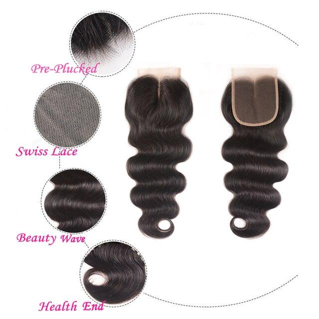 Brazylijski ciało fala zamknięcie wstępnie oskubane 150% gęstość darmo/Middle/trzy część szwajcarska koronka zamknięcie Julia Remy uzupełnienie splotu ludzkich włosów