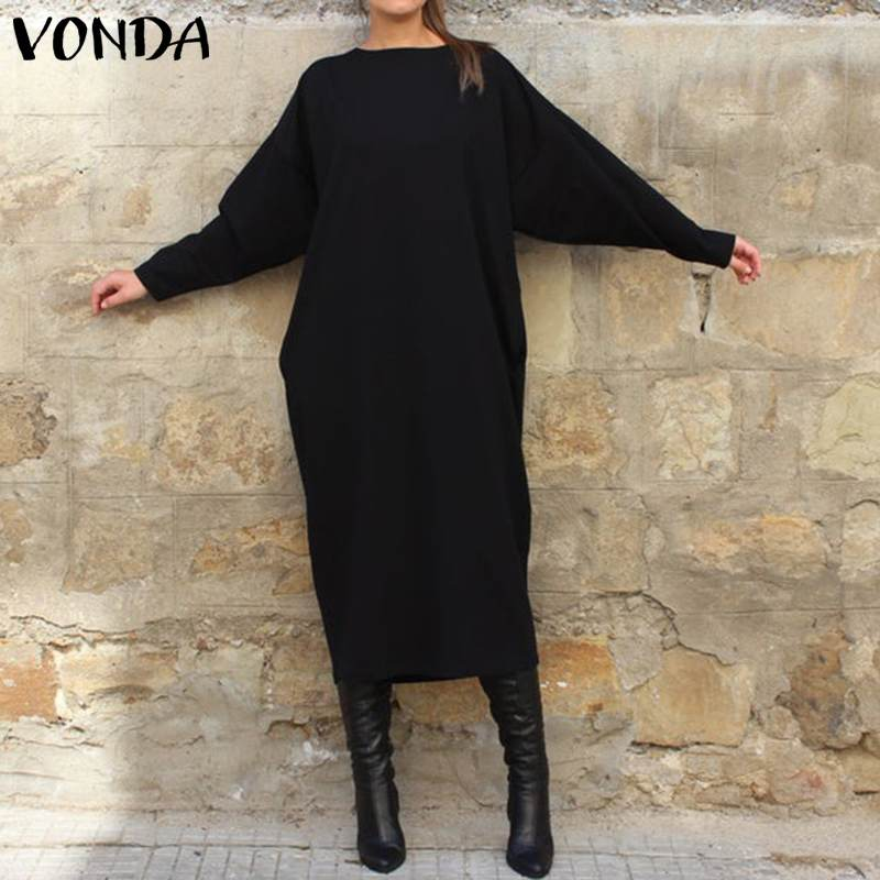 VONDA Women Autumn Long Maxi Dress Fashion Womens Tunics Round Neck Long Sleeve Shirt Dress Party Vestidos Plus Size Robe Femme