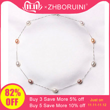 ZHBORUINI Fine Pearl Necklace 925 Sterling Silver Pearl Jewelry Natural Freshwater Pearl Choker Pendants Jewelry For Women Gift(China)