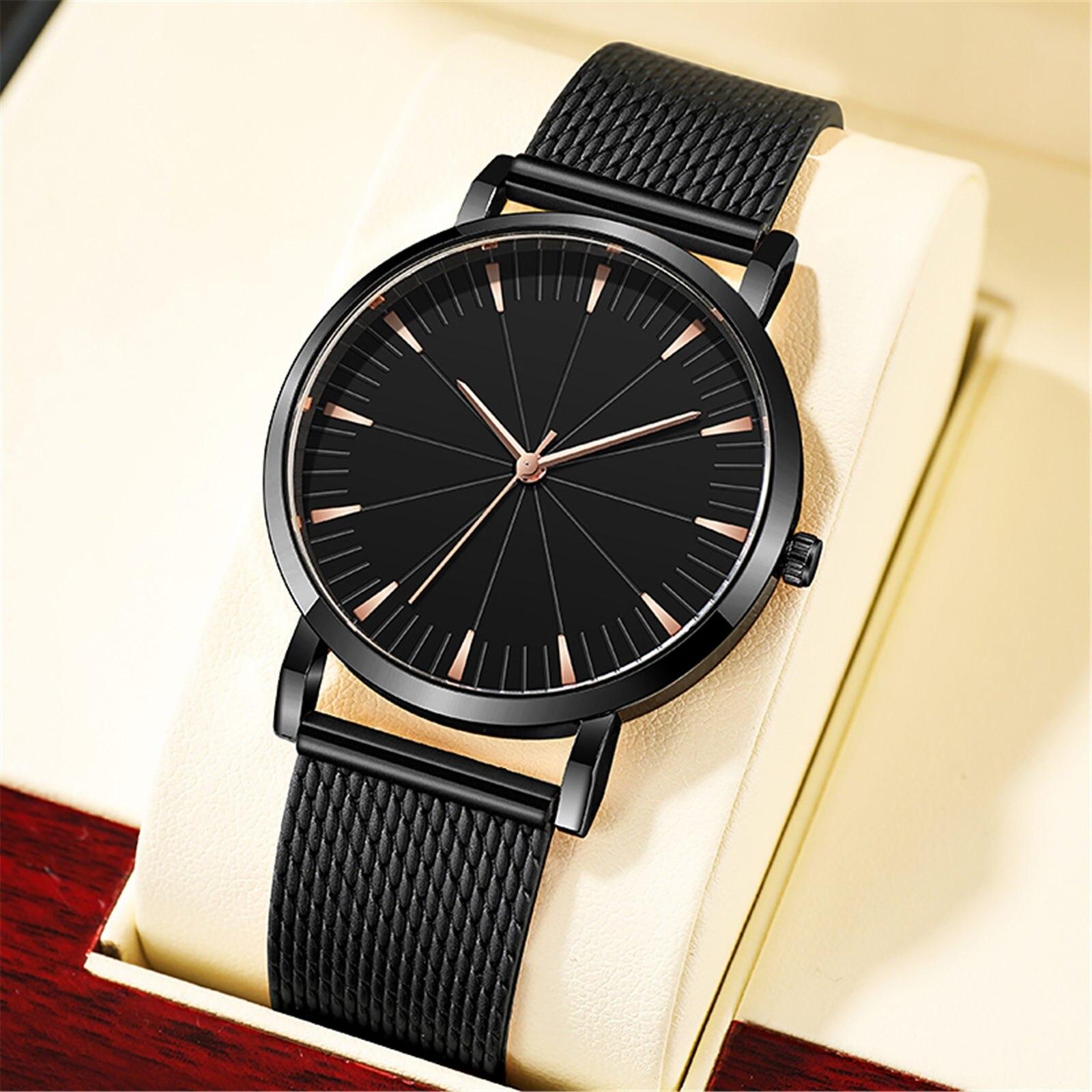 Casual Business Watch Men Mesh Strap Quartz Watch Glass Silicone Gentleman Analog Watch Luxury Gift