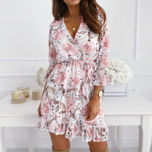 2021 nova flor vestido de impressão com decote em v vestido de fenda babados feminino elegante a line saia bandagem vestidos sexy vestido de mulher mini vestido