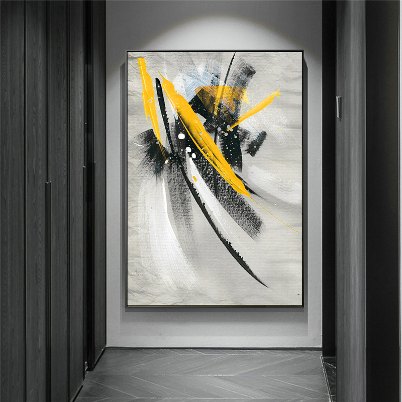 Abstract Yellow Feather Oil Paintings Print on Canvas Art Posters and Prints Modern Graffiti Art Wall Pictures Home Decor Cuadro(China)