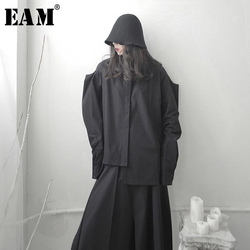 [EAM] Women Asymmetrical Split Big Size Blouse New Lapel Long Sleeve Loose Fit Shirt Fashion Tide Spring Autumn 2020  1S660