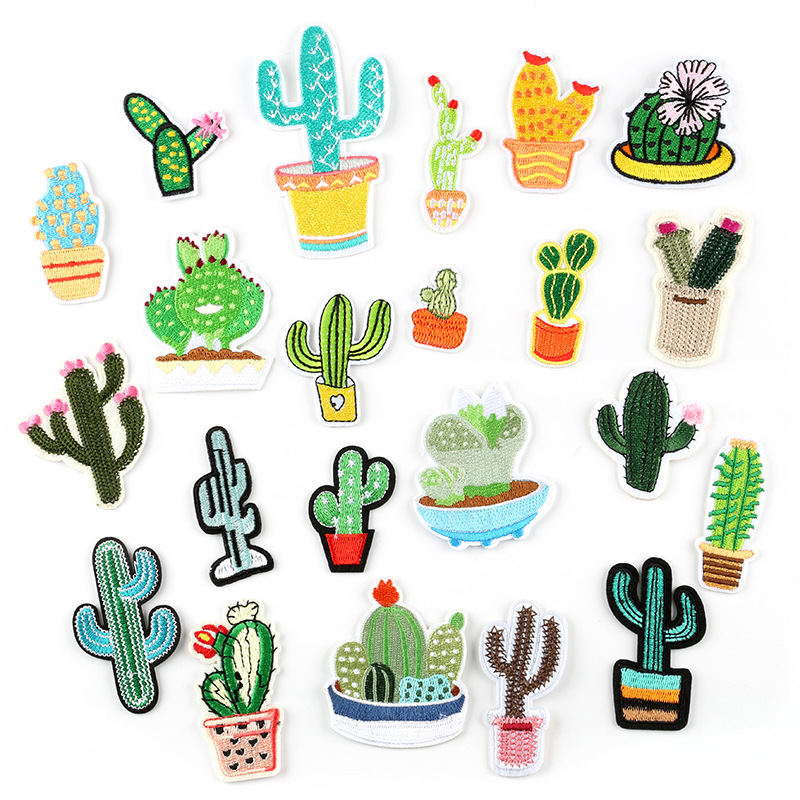 Plant Patches Iron on Patches for Clothing Stripes Cactus Badges Stickers on Clothes for Kids DIY Appliques Embroidered Patches