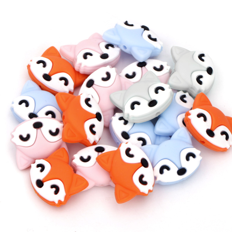 Chenkai 10PCS Fox Shaped Baby Silicone Beads Teether Baby Cartoon Teething For Baby Nursing Teething Necklace Pacifier Clips