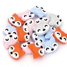 Chenkai mordedor de silicone em forma de raposa, 10 peças, mordedor de bebê, desenho animado, dentição para bebê, colar de chupeta, clipes
