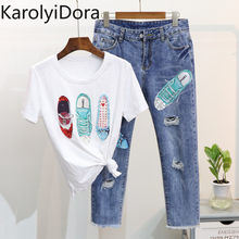 Summer Women T Shirts Denim Pant Suits Fashion Beading Sequined Shoes Pattern Tshirt + Hole Tassel Calf-Length Trousers Sets(China)