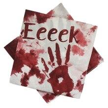 Omilut 20pcs Halloween Decoration Napkins Paper Napkin Blood handprint Pumpkin Skull Printing Towels Decor