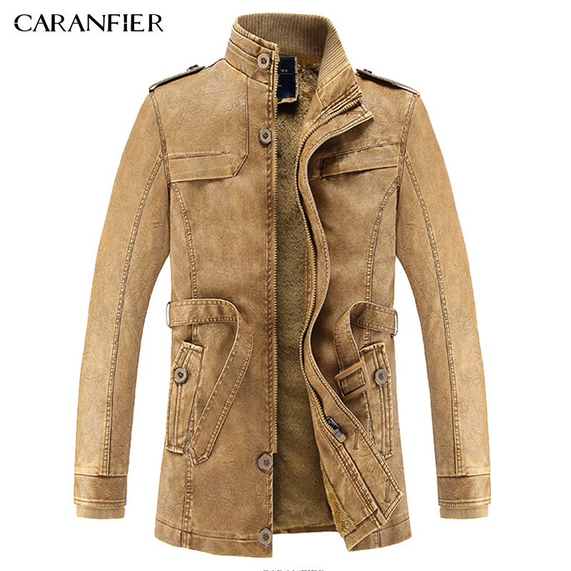 CARANFIER 2017 New Men Long Leather Jacket British Style Casual Businessmen Male Long Windproof Warm Leather Outwear Parka L~3XL