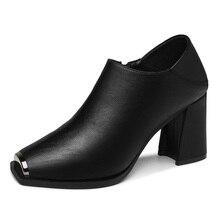 Square Toe Retro High Heels Women Shoes New Single Shoes Deep Mouth Shoes Woman Black Solid Color Women Pumps 3-50