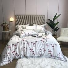Juego de ropa de cama de seda suave sedosa de 800TC, edredón de colores con hojas florales, tamaño Queen y King, 4 Uds.