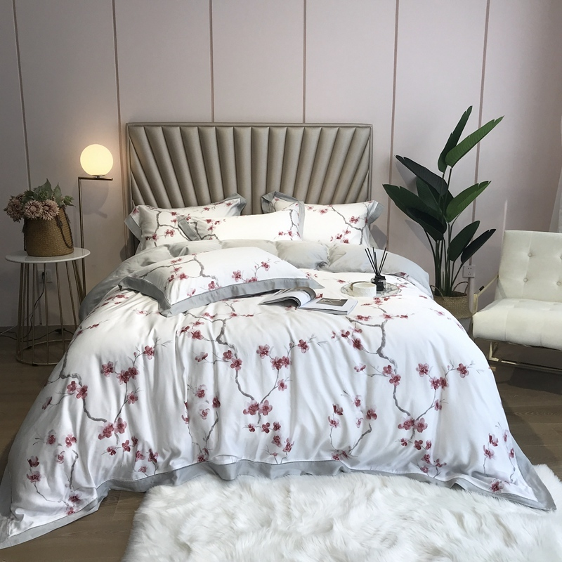Silky Soft Luxury 800TC Tencel Silk Colorful Floral Leaves Bedding Queen King Size 4Pcs Duvet Cover Bed Sheets Set Pillowcase