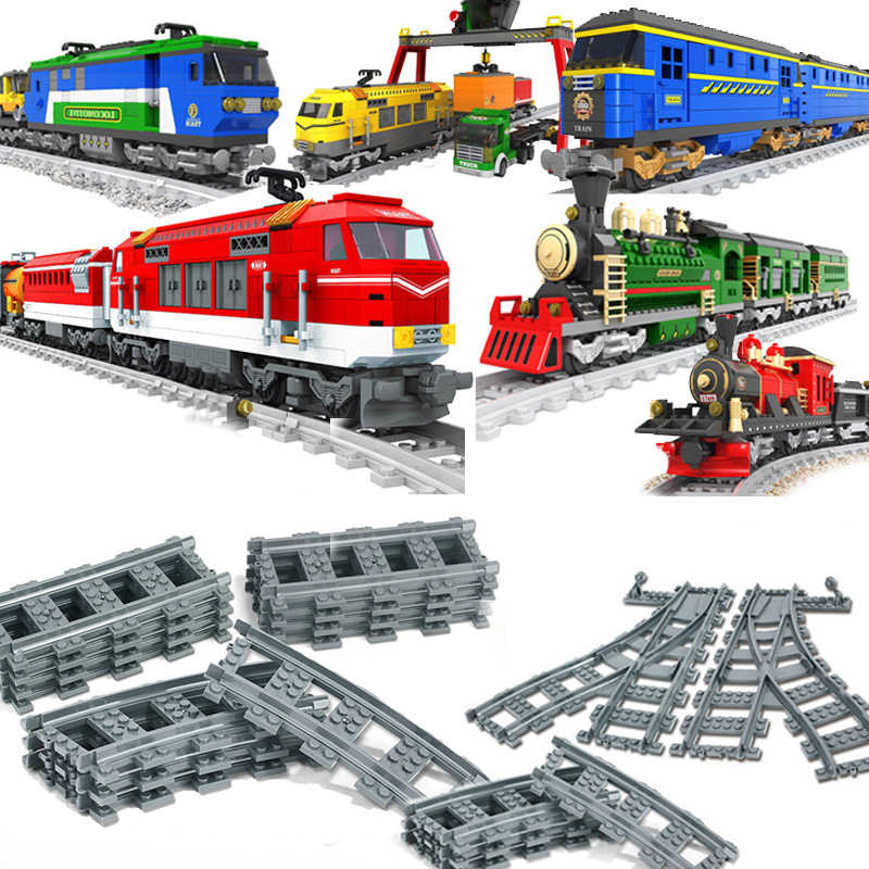 10-100 Pcs City Trains Train Track railway arrow Straight Curved Rails Blocks Sets Bricks Model Kids Toys Compatible for legoed