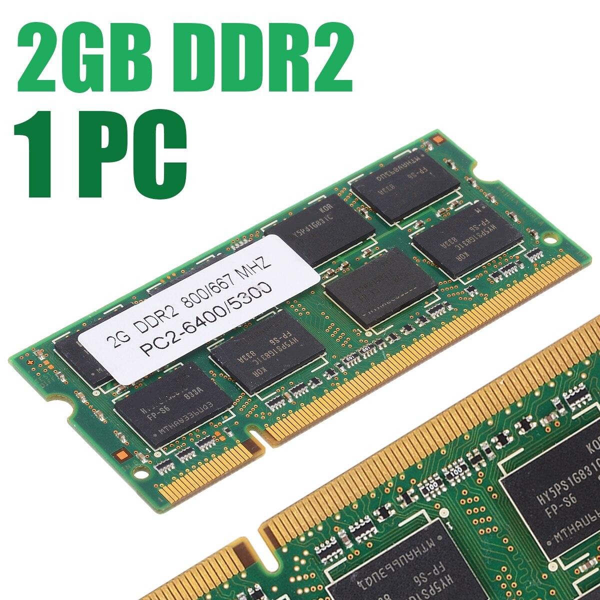 800/667 mhz 2 gb ddr2 memória de baixa densidade 200pin computador portátil memória pc2 6400/5300 ram para dell sony toshiba 1.8 v cl5
