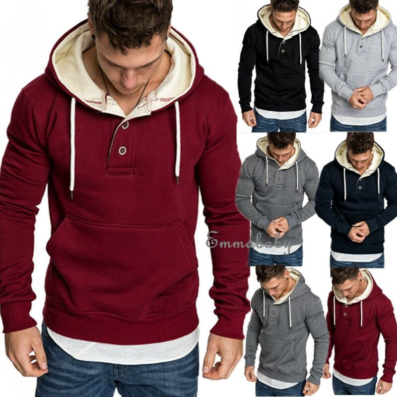 2019 Winter Men Hoodies Pullover Keep Warm Plush Streetwear Men Sweatshirts Solid Black Autumn Hoodie Sportswear Male Sweatshirt