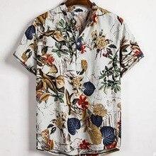 Summer Man Shirt Mens Ethnic Printed Stand Collar Cotton Lin