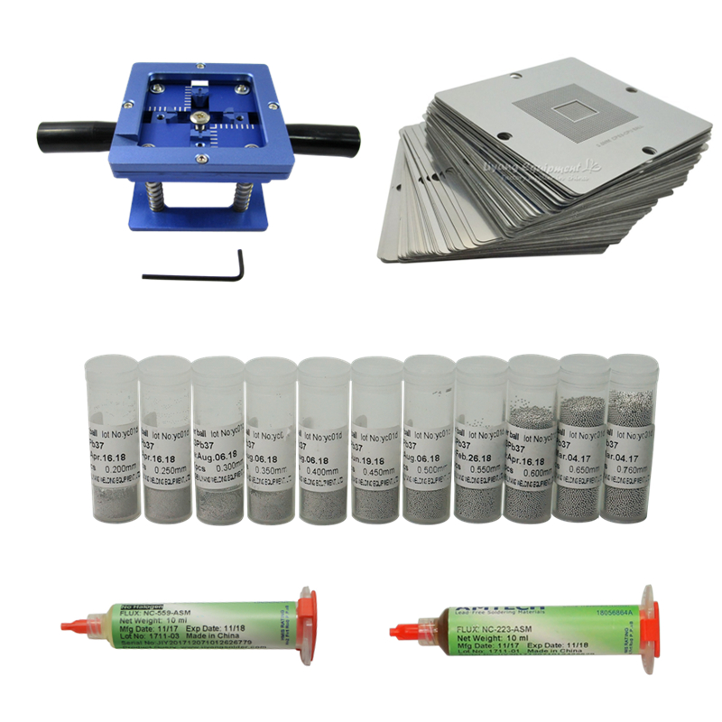 90   90mm BGA reballing station with Universal Stencil kit leaded solder balls universal stencils and solder flux repair tools
