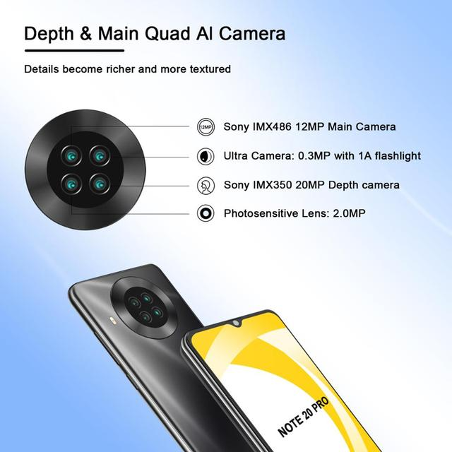 CUBOT Note 20 Pro Cell Phone 8+128GB Rear Quad Camera 12MP NFC Smartphone 4g 6.5″ HD Display Android 10 Telephone 4200mAh 3