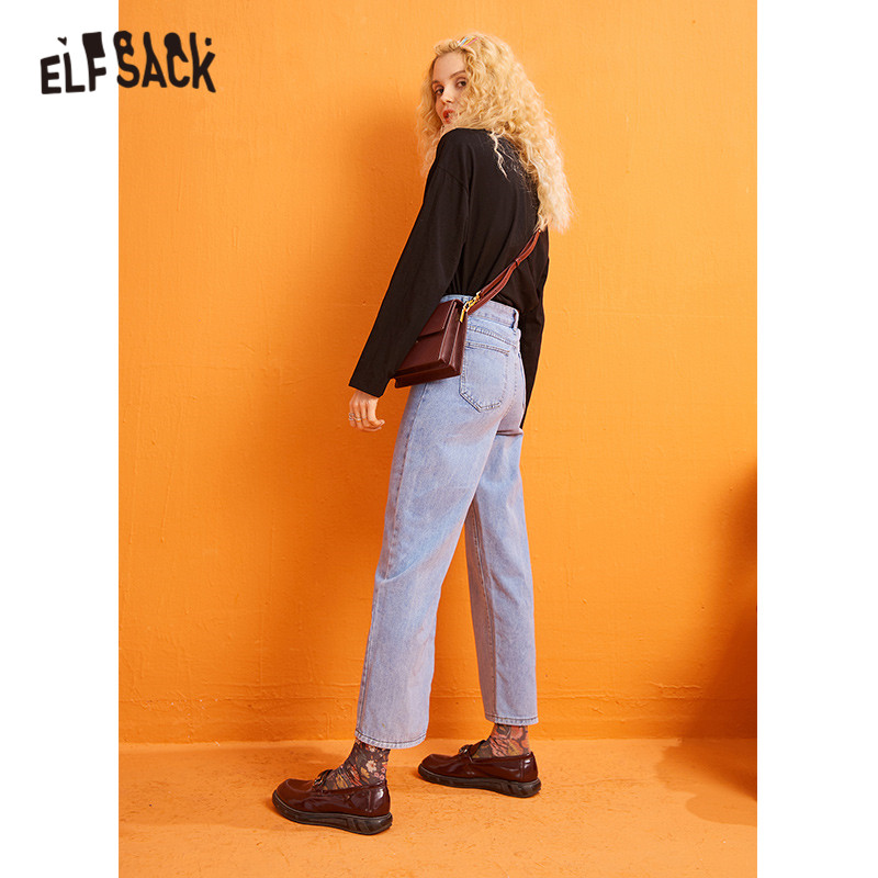 ELFSACK Blue Solid Washed Straight Wide Leg Jeans Woman 2019 Winter Minimalist Loose Korean Style Office Ladies Basic Trousers